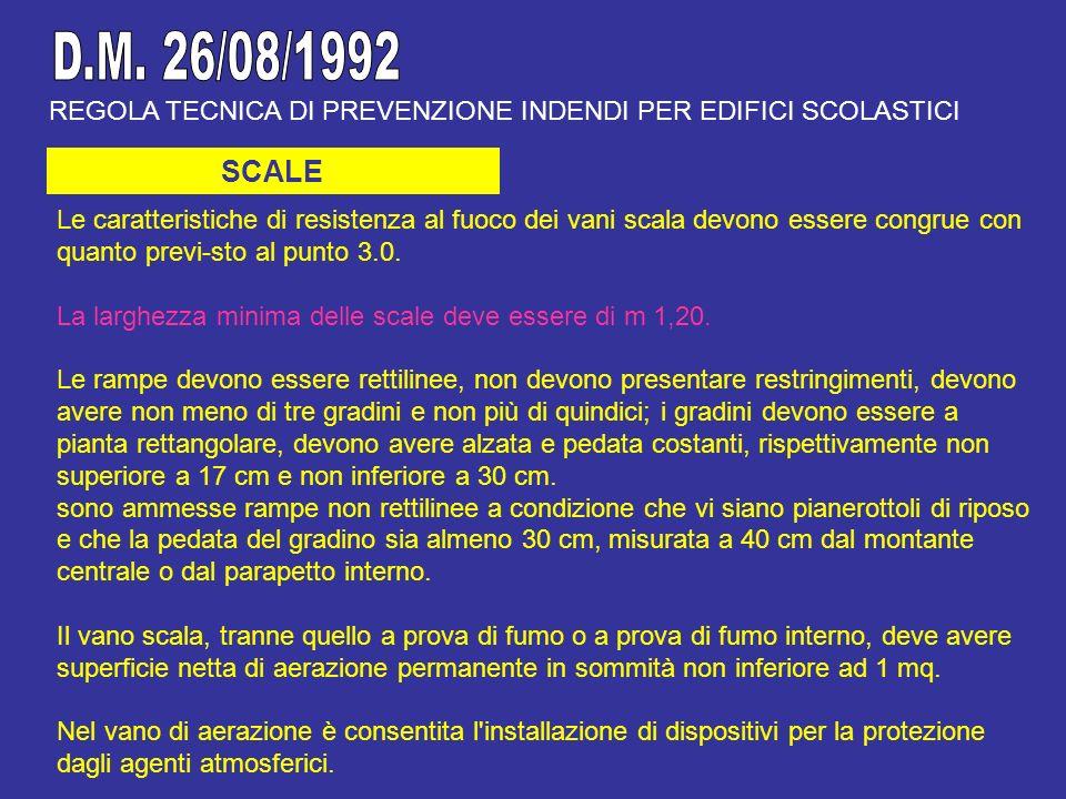 D.M. 26/08/1992 REGOLA TECNICA DI PREVENZIONE INDENDI PER EDIFICI SCOLASTICI. SCALE.