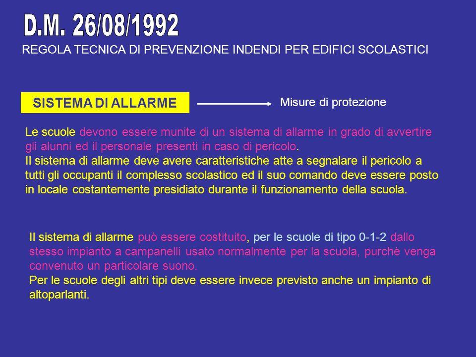 D.M. 26/08/1992 SISTEMA DI ALLARME