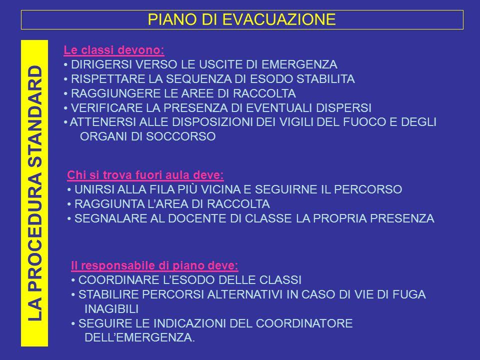 LA PROCEDURA STANDARD PIANO DI EVACUAZIONE Le classi devono: