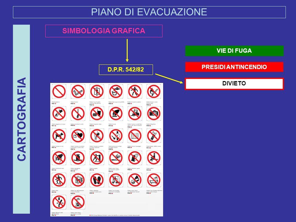CARTOGRAFIA PIANO DI EVACUAZIONE SIMBOLOGIA GRAFICA VIE DI FUGA