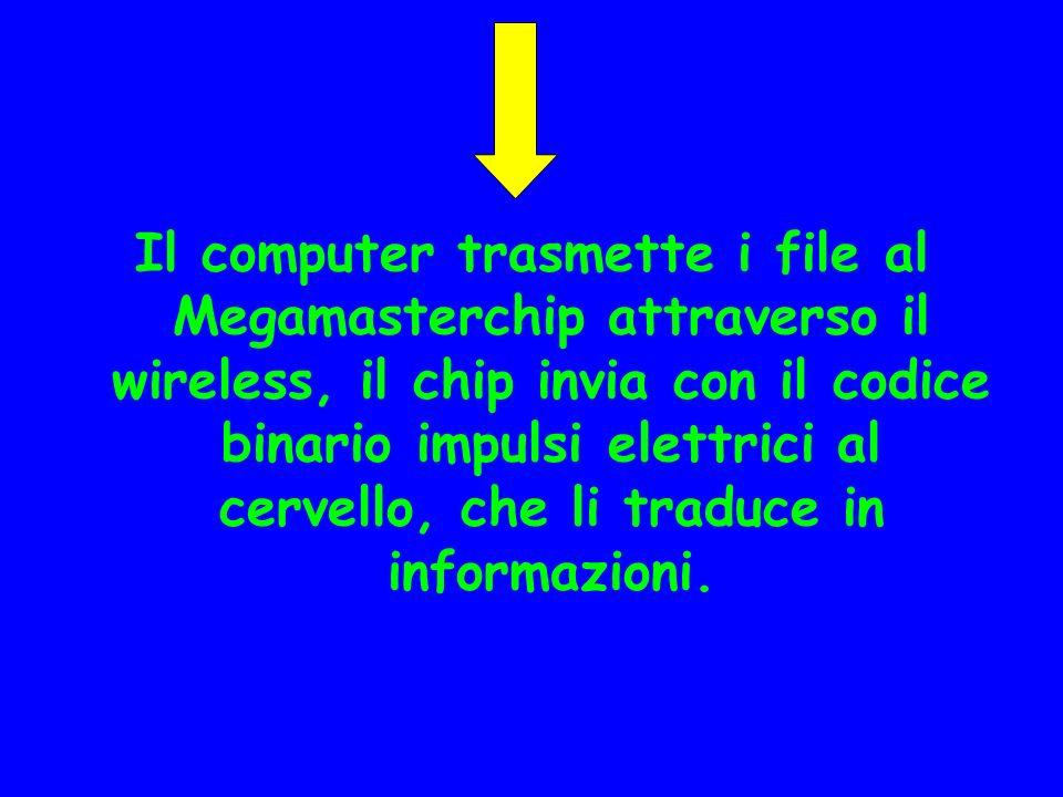 Il computer trasmette i file al Megamasterchip attraverso il wireless, il chip invia con il codice binario impulsi elettrici al cervello, che li traduce in informazioni.