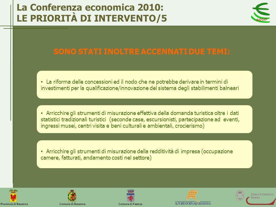 La Conferenza economica 2010: LE PRIORITÀ DI INTERVENTO/5