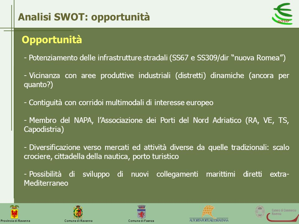 Analisi SWOT: opportunità