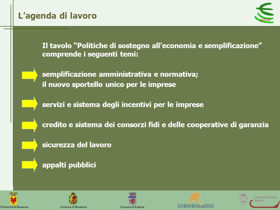 L'agenda di lavoro Il tavolo Politiche di sostegno all'economia e semplificazione comprende i seguenti temi: