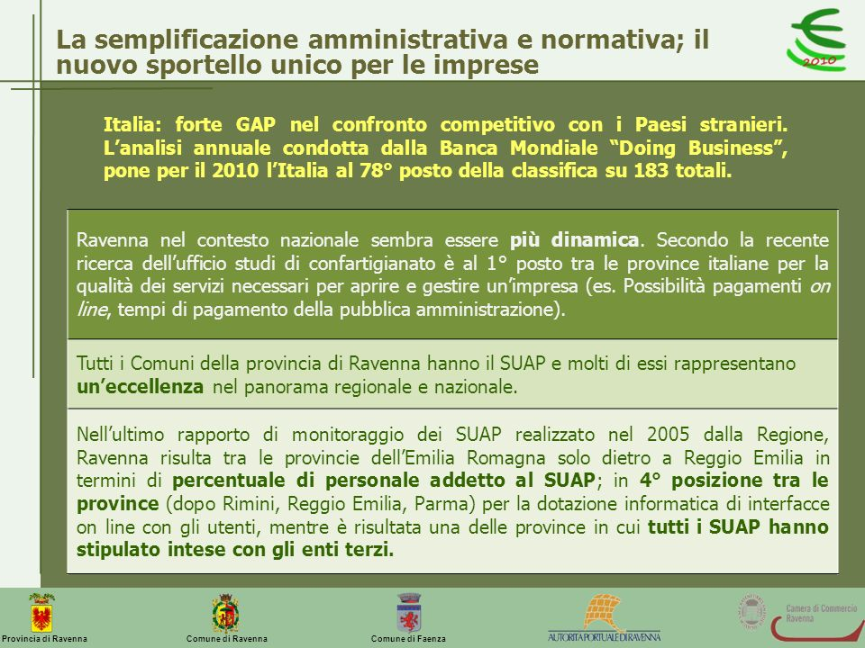 La semplificazione amministrativa e normativa; il nuovo sportello unico per le imprese