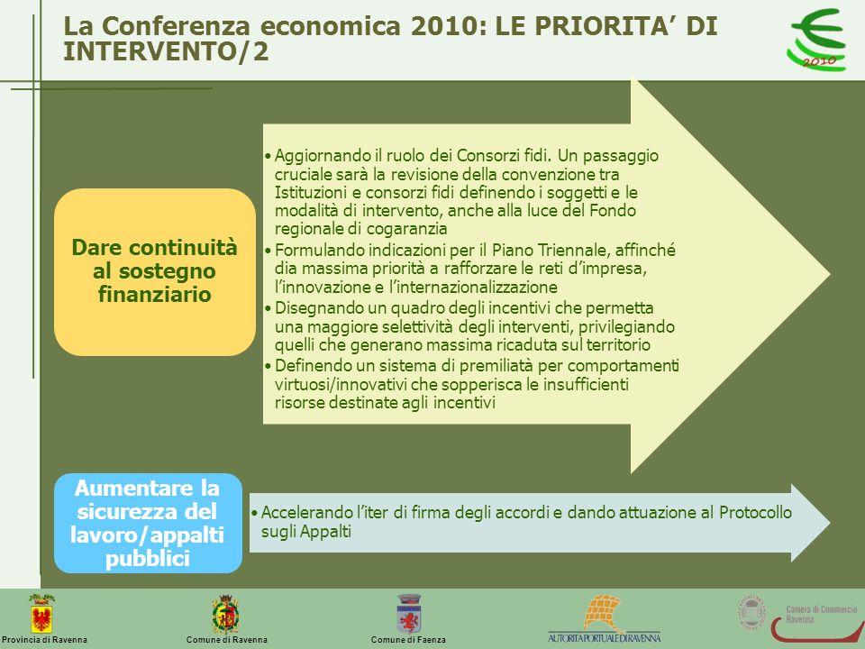 La Conferenza economica 2010: LE PRIORITA' DI INTERVENTO/2