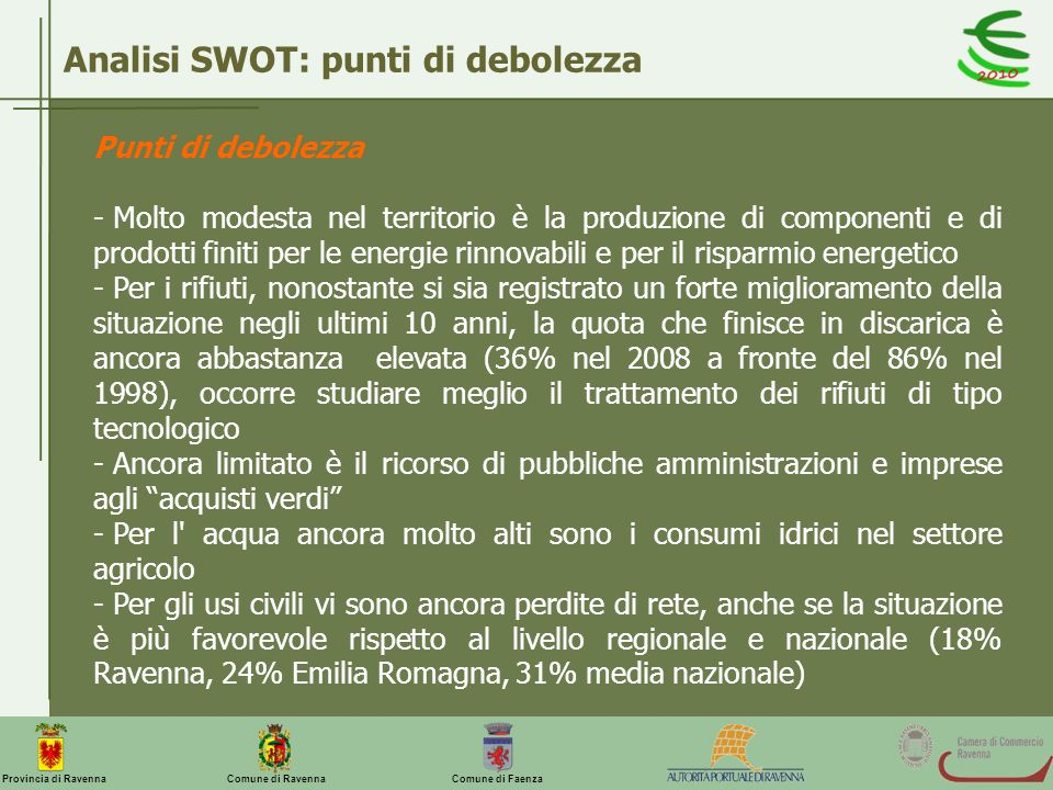 Analisi SWOT: punti di debolezza