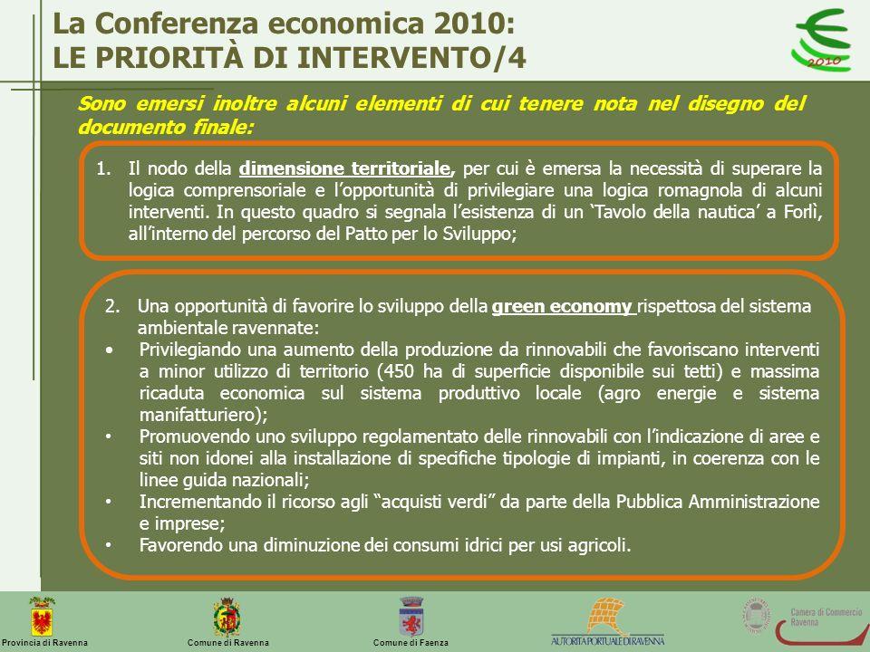 La Conferenza economica 2010: LE PRIORITÀ DI INTERVENTO/4