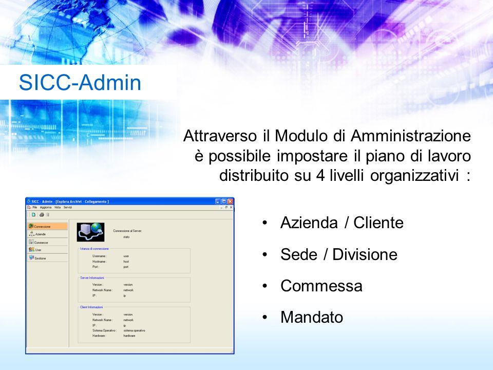 SICC-Admin Attraverso il Modulo di Amministrazione è possibile impostare il piano di lavoro distribuito su 4 livelli organizzativi :