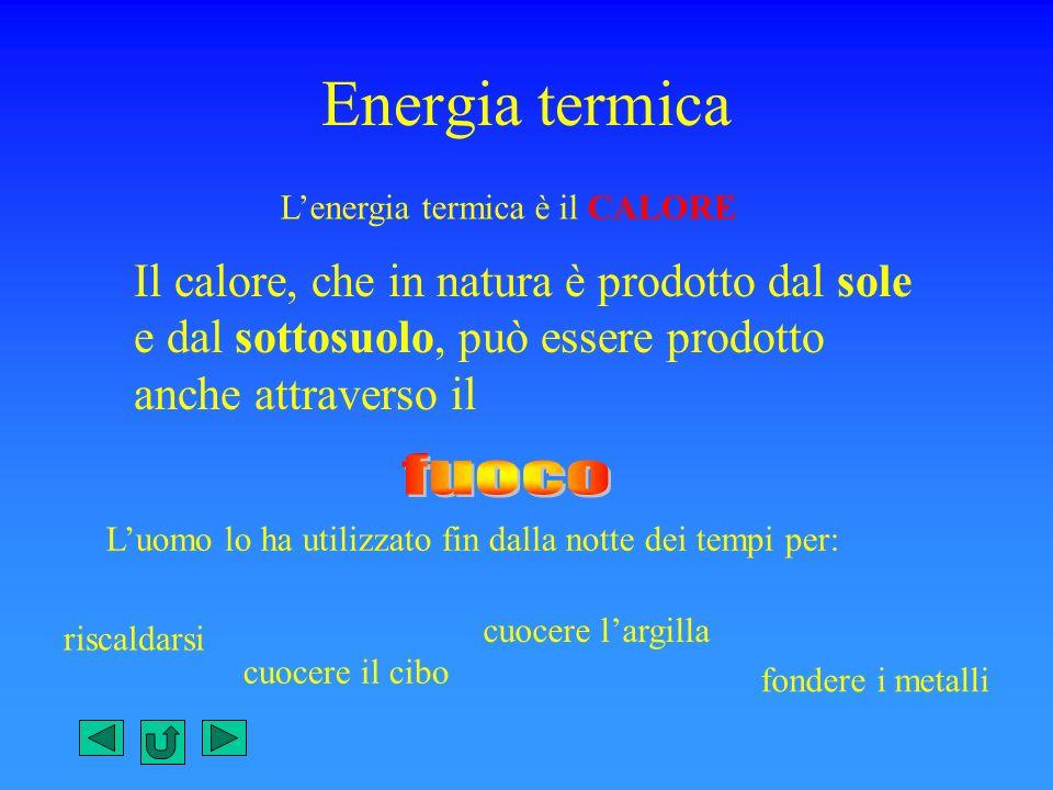 Energia termica L'energia termica è il CALORE.