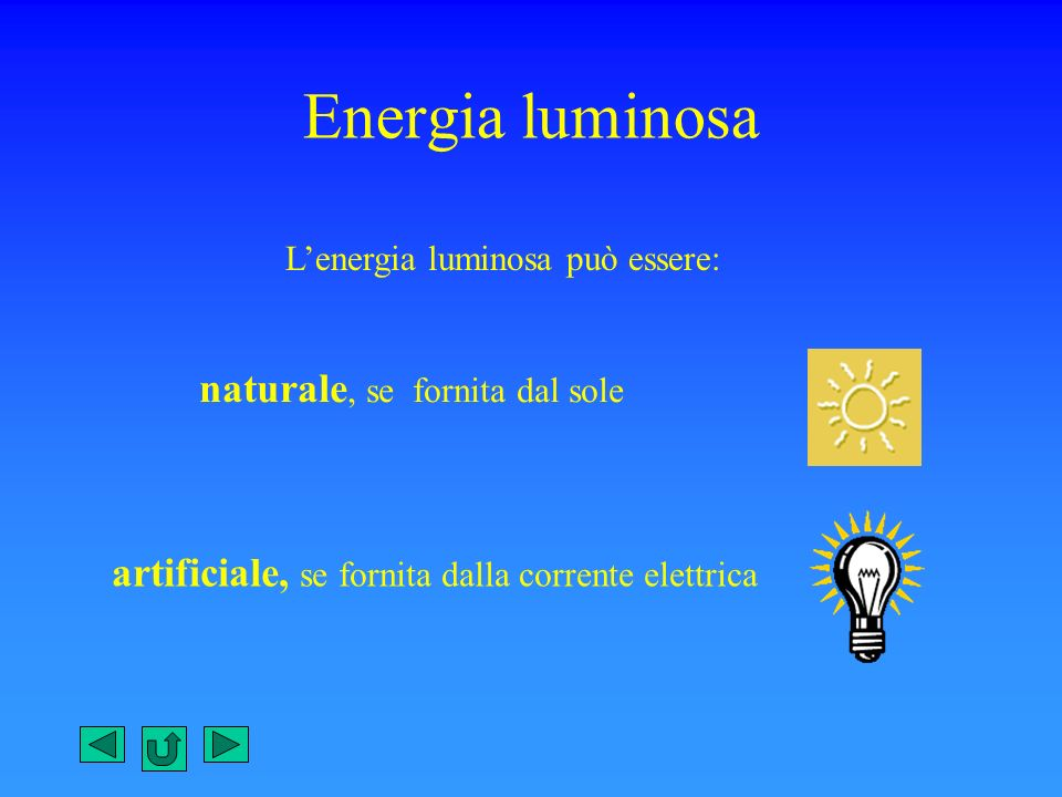 Energia luminosa naturale, se fornita dal sole