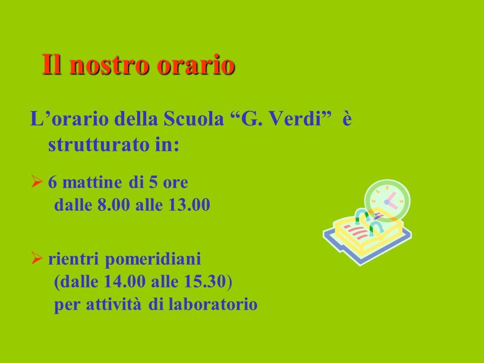 Il nostro orario L'orario della Scuola G. Verdi è strutturato in: