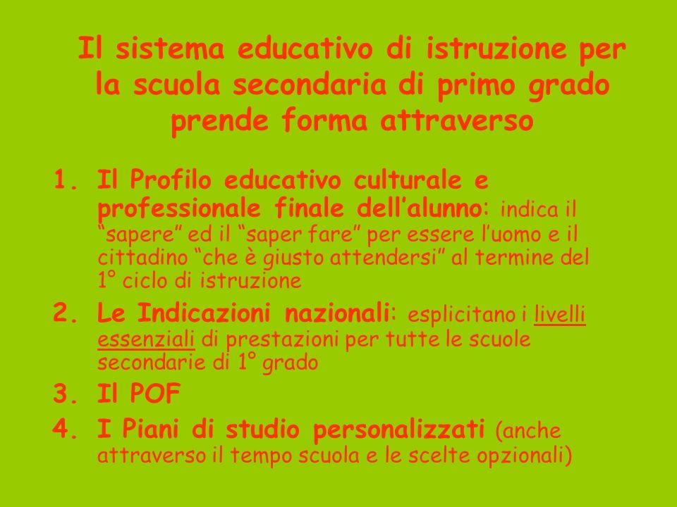 Il sistema educativo di istruzione per la scuola secondaria di primo grado prende forma attraverso