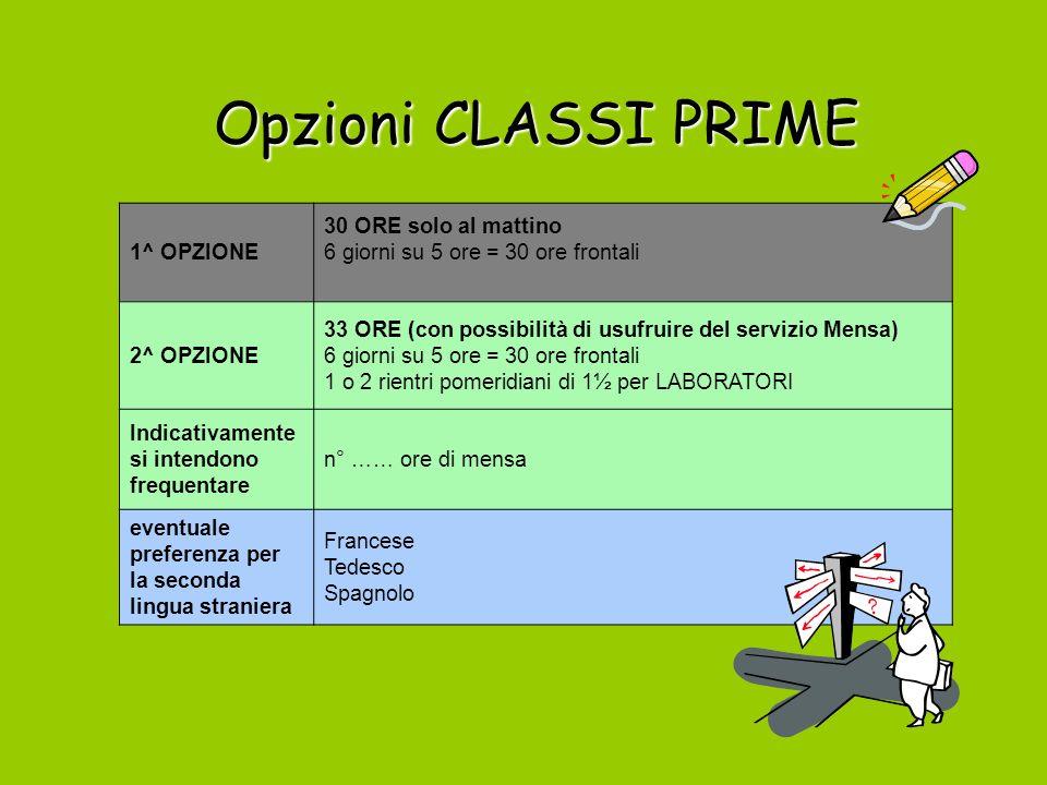 Opzioni CLASSI PRIME 1^ OPZIONE 30 ORE solo al mattino