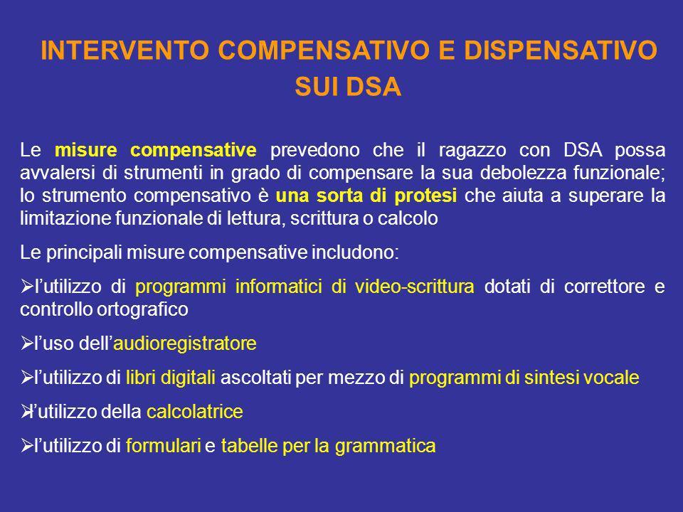INTERVENTO COMPENSATIVO E DISPENSATIVO SUI DSA