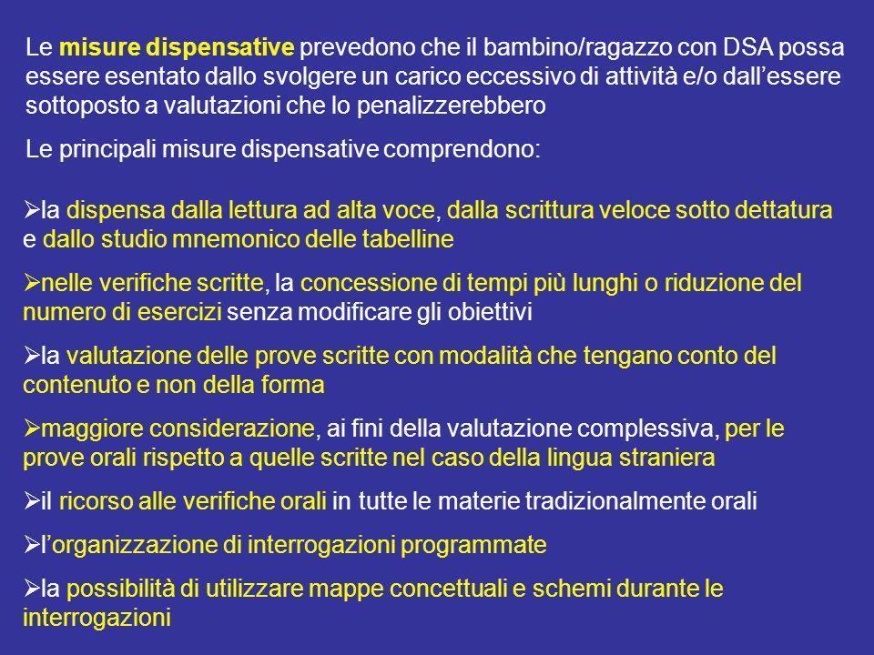 Le misure dispensative prevedono che il bambino/ragazzo con DSA possa essere esentato dallo svolgere un carico eccessivo di attività e/o dall'essere sottoposto a valutazioni che lo penalizzerebbero