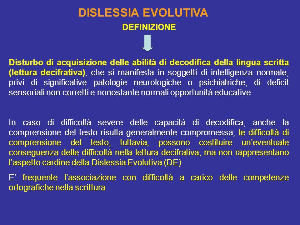 DISLESSIA EVOLUTIVA DEFINIZIONE