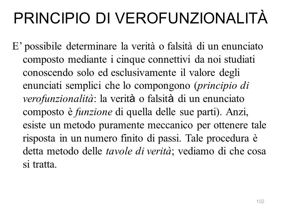 PRINCIPIO DI VEROFUNZIONALITÀ