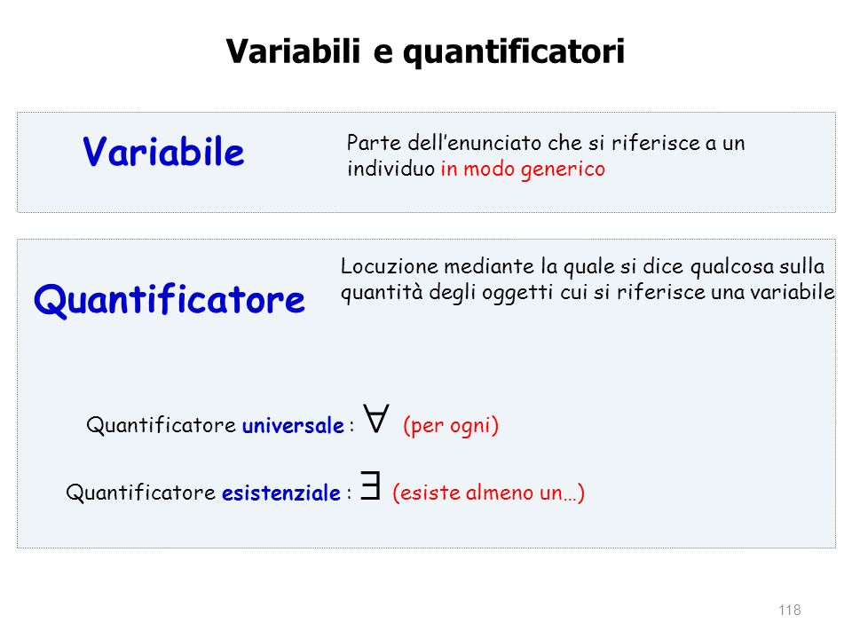Variabili e quantificatori
