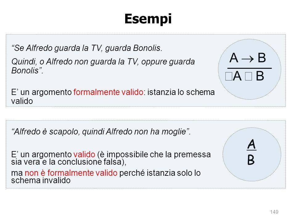 Esempi A ® B ØA Ú B A B Se Alfredo guarda la TV, guarda Bonolis.