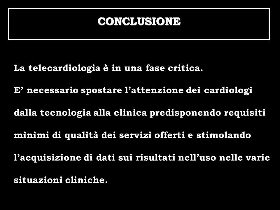 CONCLUSIONE La telecardiologia è in una fase critica.