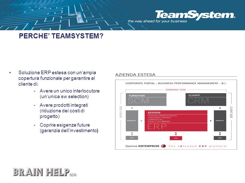 PERCHE' TEAMSYSTEM Soluzione ERP estesa con un'ampia copertura funzionale per garantire al cliente di: