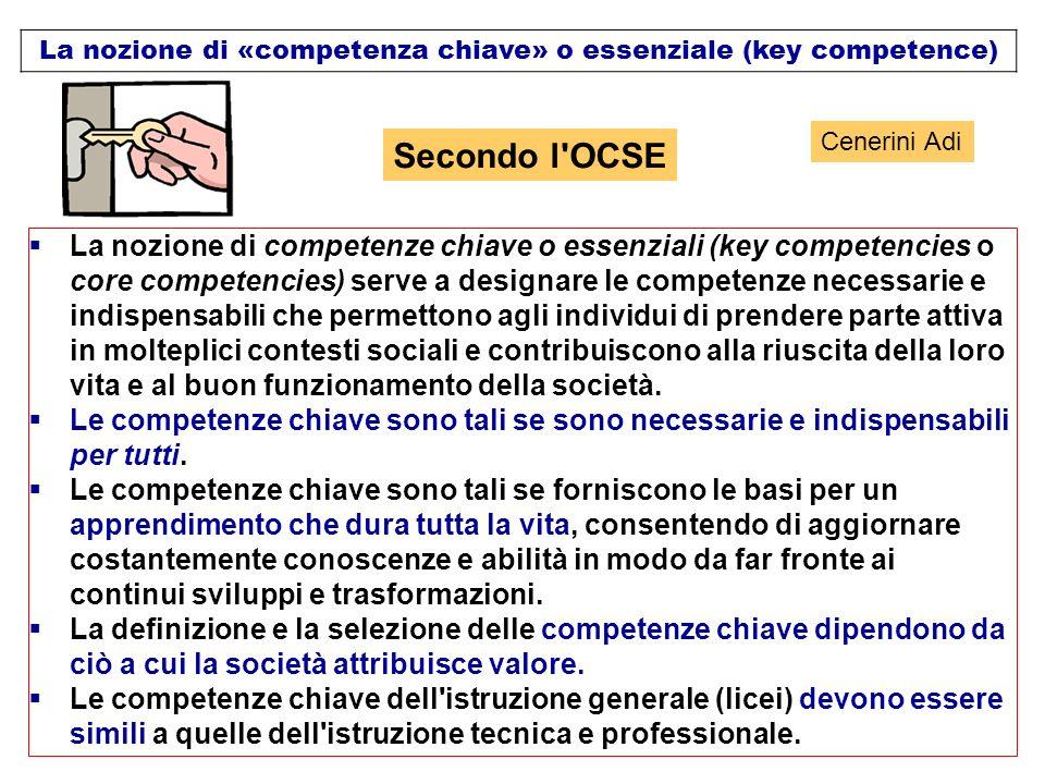 La nozione di «competenza chiave» o essenziale (key competence)
