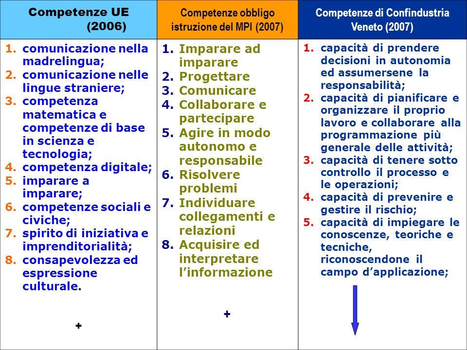 Competenze obbligo istruzione del MPI (2007)