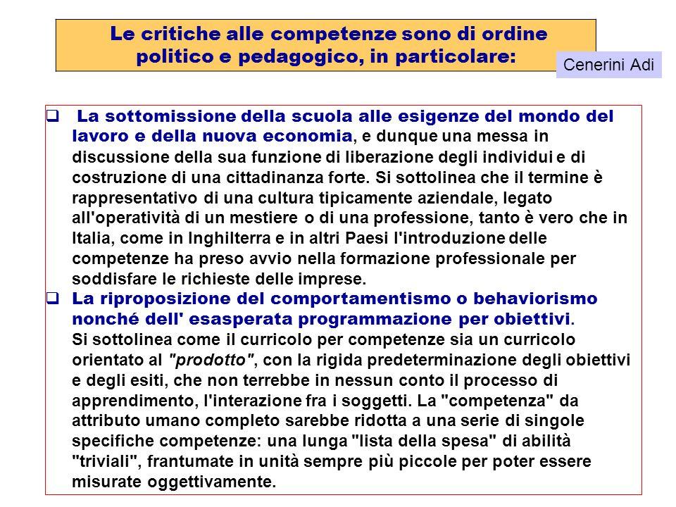 Le critiche alle competenze sono di ordine politico e pedagogico, in particolare: