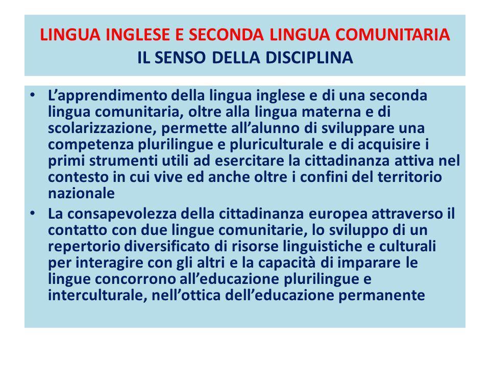 LINGUA INGLESE E SECONDA LINGUA COMUNITARIA IL SENSO DELLA DISCIPLINA DIDATTICA PER LA GRAMMATICA