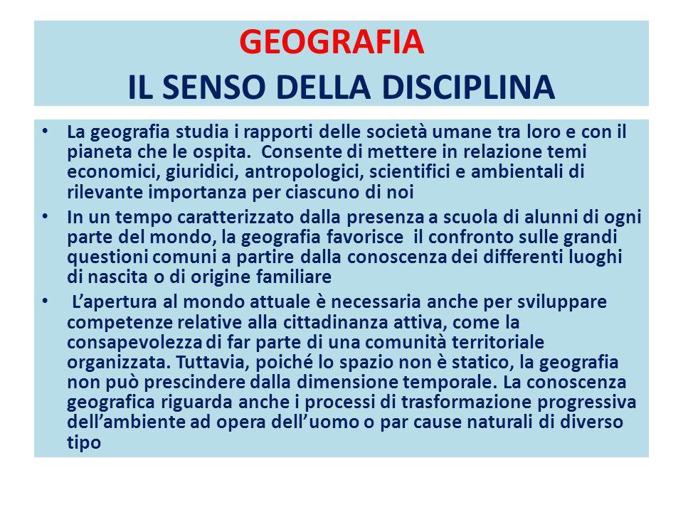GEOGRAFIA IL SENSO DELLA DISCIPLINA