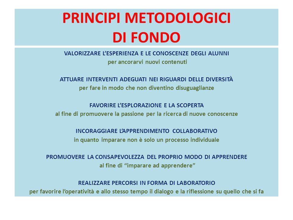 PRINCIPI METODOLOGICI DI FONDO