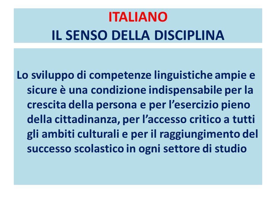 ITALIANO IL SENSO DELLA DISCIPLINA
