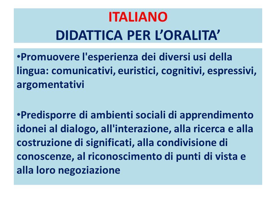 ITALIANO DIDATTICA PER L'ORALITA'