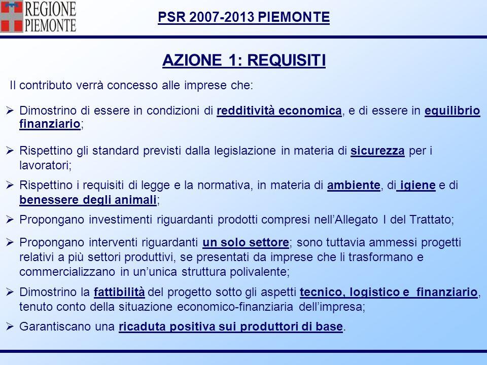 AZIONE 1: REQUISITI Il contributo verrà concesso alle imprese che: