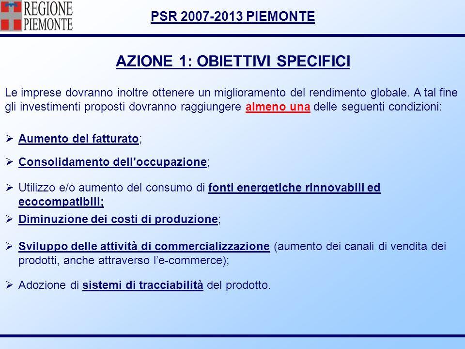 AZIONE 1: OBIETTIVI SPECIFICI