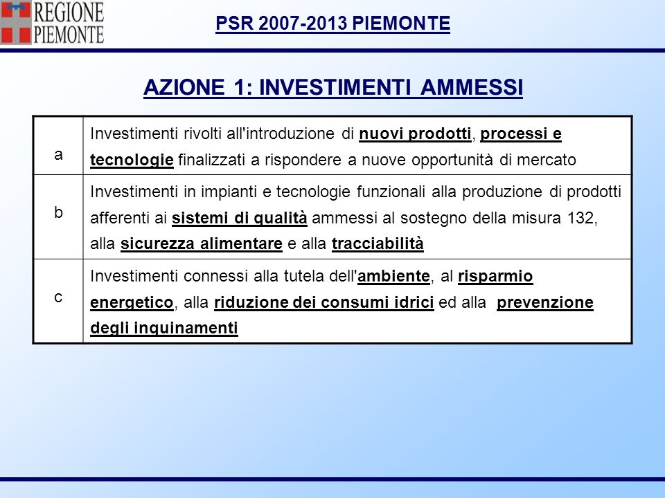 AZIONE 1: INVESTIMENTI AMMESSI