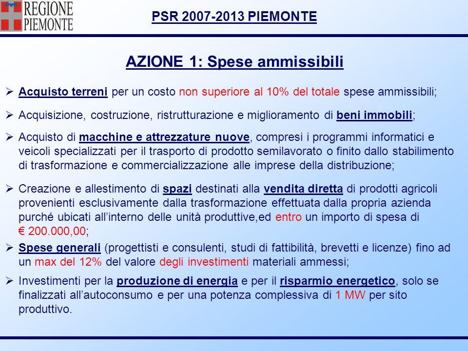 AZIONE 1: Spese ammissibili