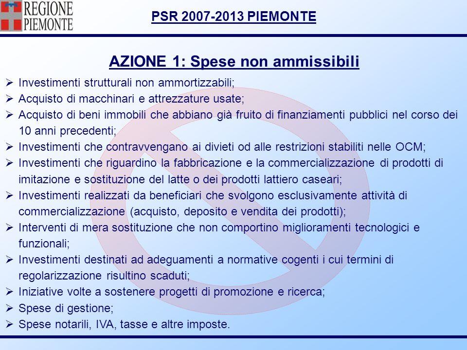 AZIONE 1: Spese non ammissibili