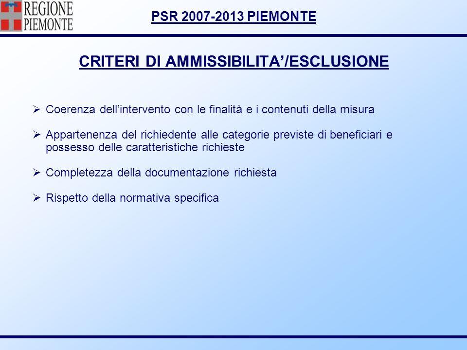 CRITERI DI AMMISSIBILITA'/ESCLUSIONE