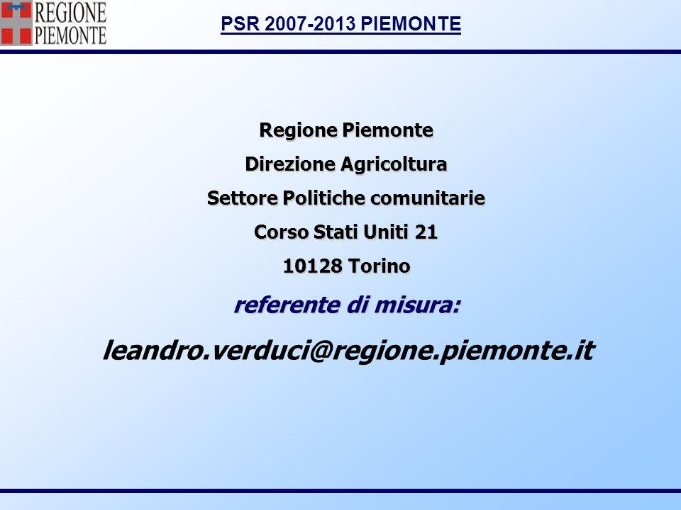 Direzione Agricoltura Settore Politiche comunitarie