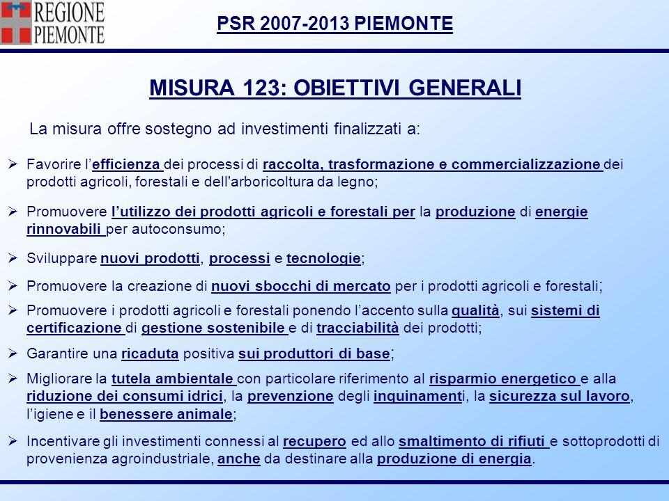 MISURA 123: OBIETTIVI GENERALI