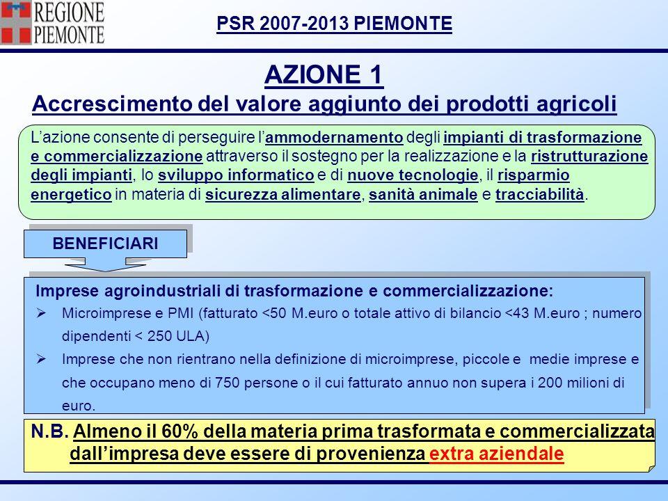 AZIONE 1 Accrescimento del valore aggiunto dei prodotti agricoli