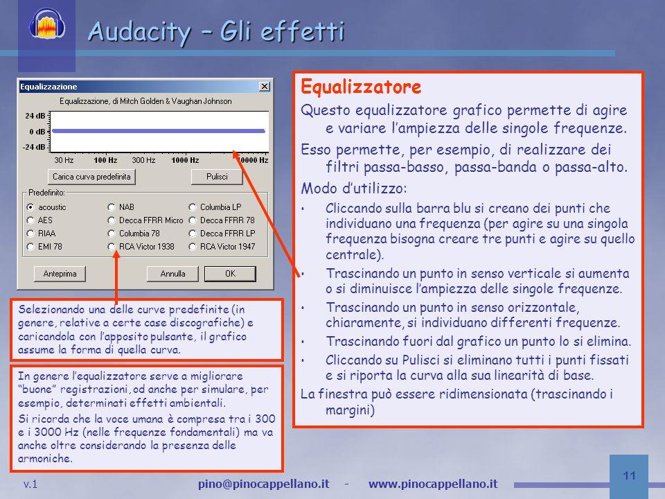 Audacity – Gli effetti Equalizzatore