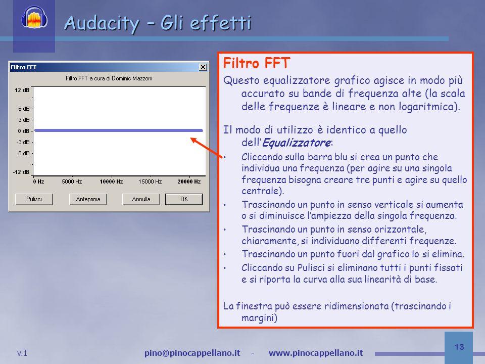 Audacity – Gli effetti Filtro FFT