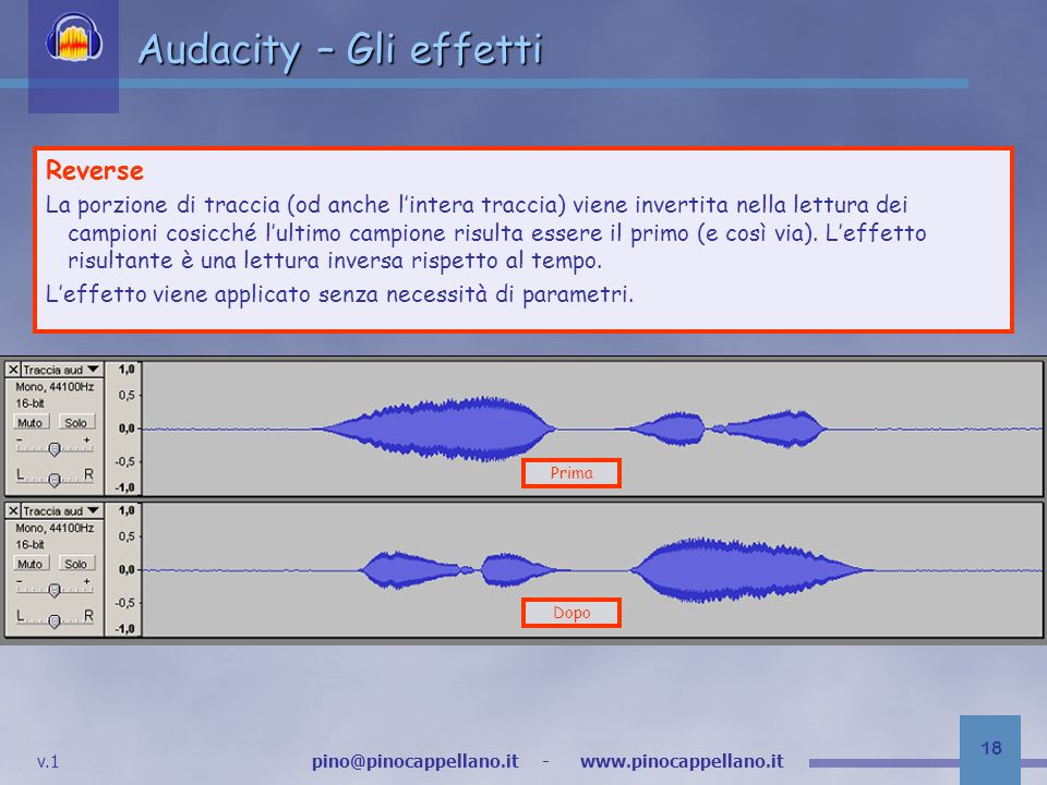 Audacity – Gli effetti Reverse