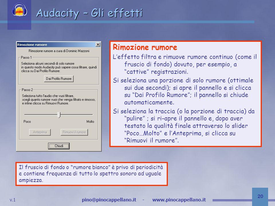 Audacity – Gli effetti Rimozione rumore