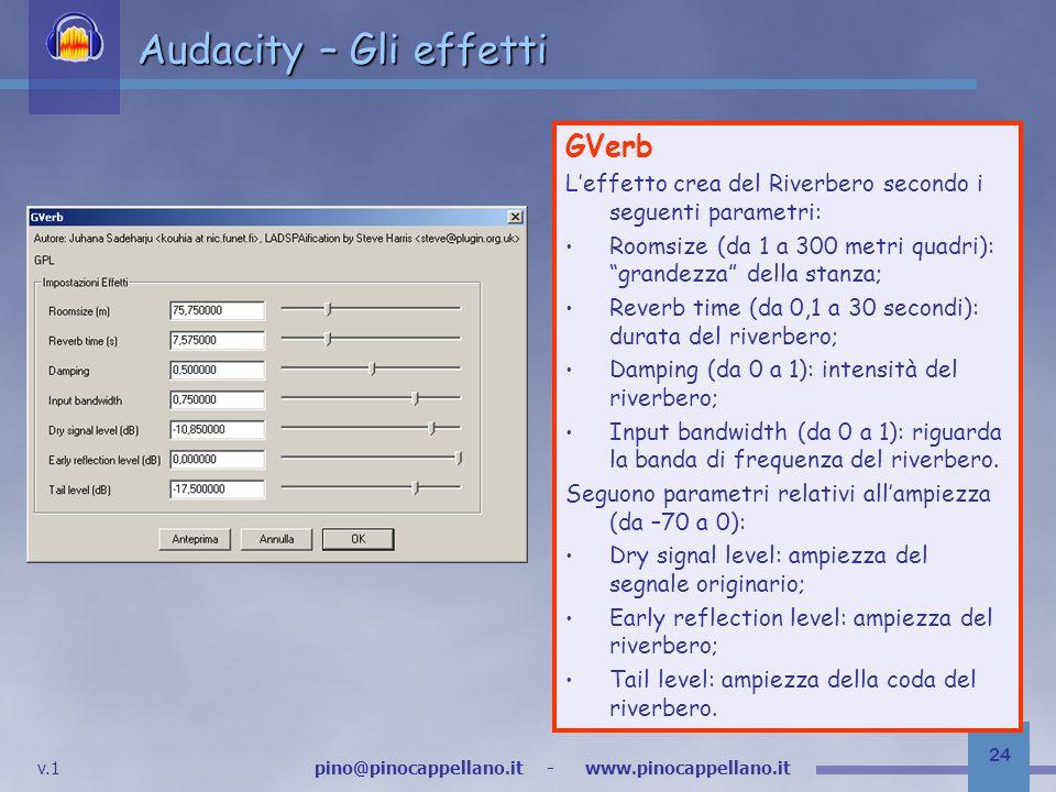 Audacity – Gli effetti GVerb