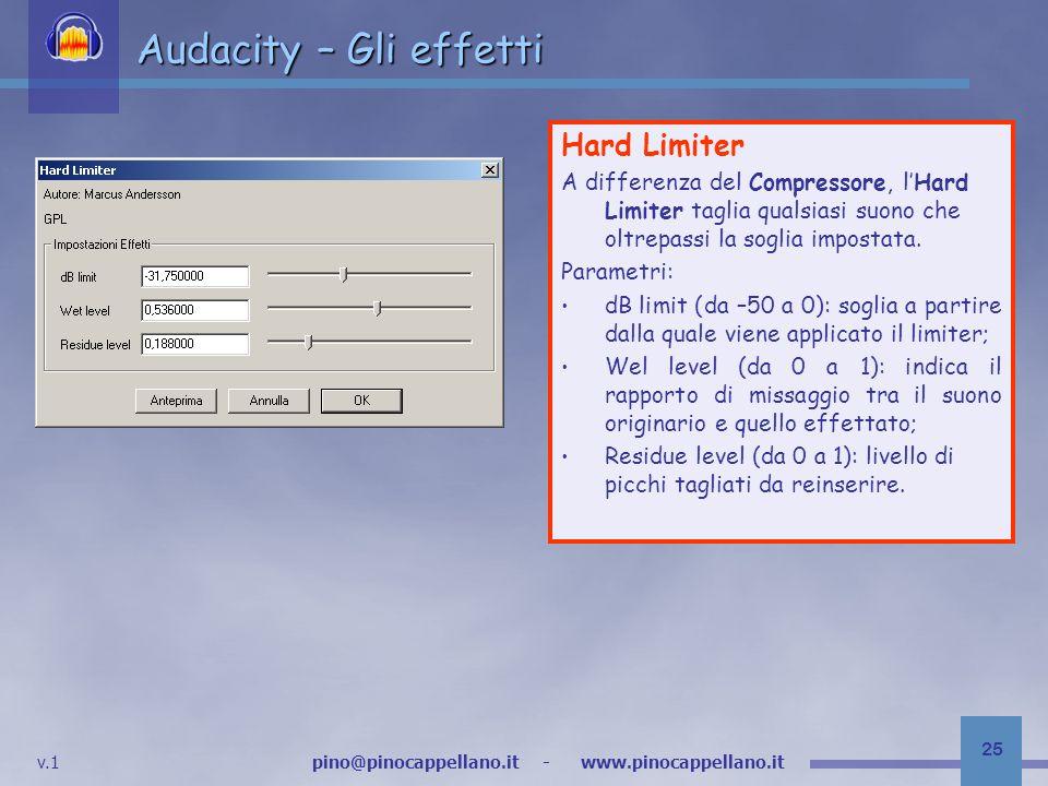 Audacity – Gli effetti Hard Limiter