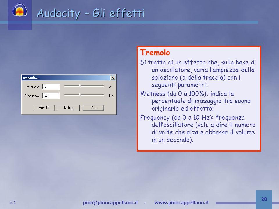 Audacity – Gli effetti Tremolo